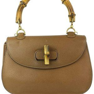 Gucci  Brown Leather Bamboo Top Handle Flap Ba